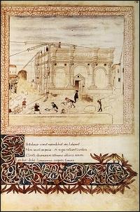"""Miniatura di Giovanni da Fano dal Codice """"Hesperis"""" di Basinio da Parma, L'elevazione del Tempio, 1462-1464 circa, Bibliothèque de l'Arsenal, Parigi"""